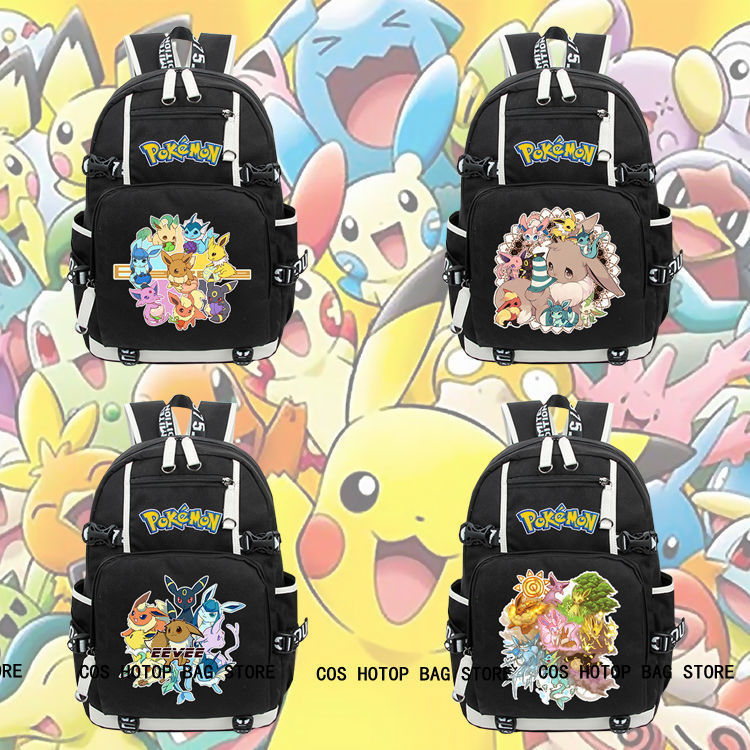 New Anime Pokemon Eevee Backpack Knapsack Black Packsack School Otaku Bags anime death note backpack knapsack packsack travel study school bags otaku shoulders bag package
