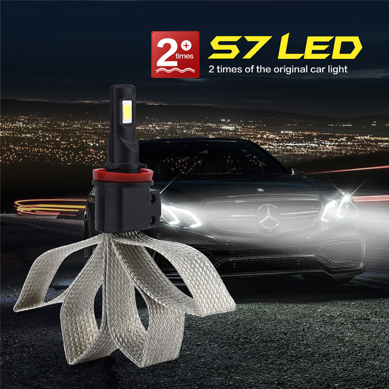 Super Bright S7 LED Car Headlight H11 H4 HB3/9005 HB4/9006 Universal Fit Automobile Headlamp 6000K Car LED light Bulbs h1 h4 h7 h8 h9 h11 9005 9006 hb3 hb4 9012 hir2 car led headlight bulbs to replace automobile halogen headlamp fog conversion kit
