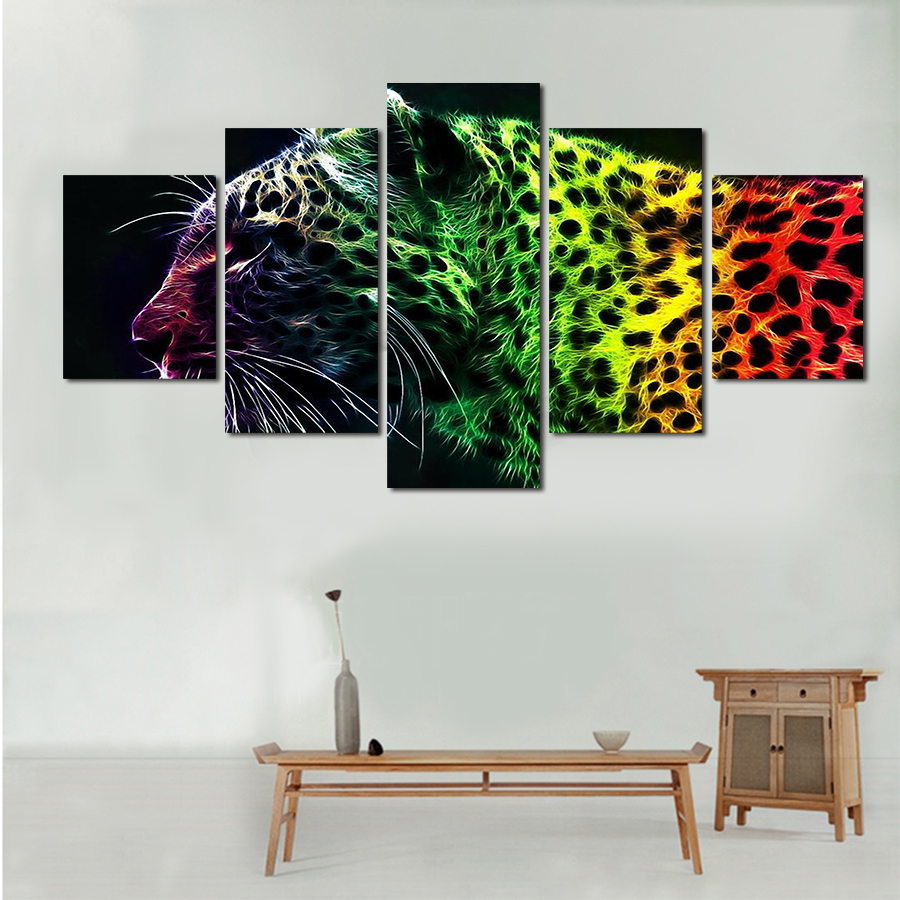 5 Piece Picture Hot Sell Abstract Leopard Modern Home Wall Decor ...