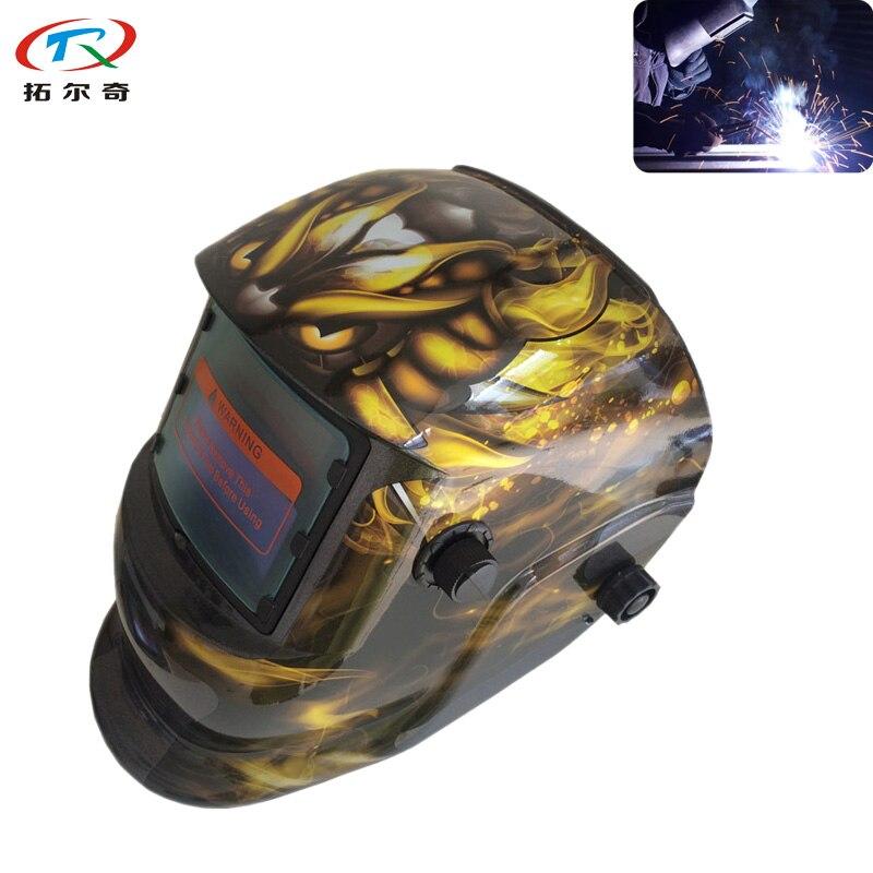 Fast Yellow Dragon Pattern PP Weld Cap Tig Mig Arc MMa Welding Helmet Automatic Soldering Mask Electric Hat TRQ HD34 2200DE