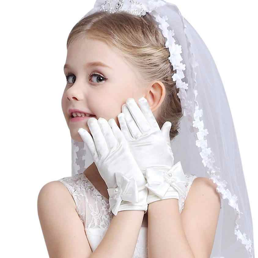 Wholesale Cheap Infant Baby Children Girls Elbow Pageant Dance Birthday Party Gloves Pink White Wedding Gloves For 3 To 8 Years