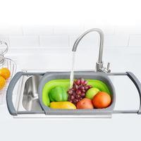 2018 NEW FASHION TelescopicFoldable Silicone Colander Fruit Vegetable Washing Basket Strainer Kitchen Tool W0706