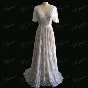 Image 5 - Mryarce nova chegada alargamento mangas rendas boêmio jardim vestido de casamento v pescoço a linha aberta voltar boho vestidos de noiva