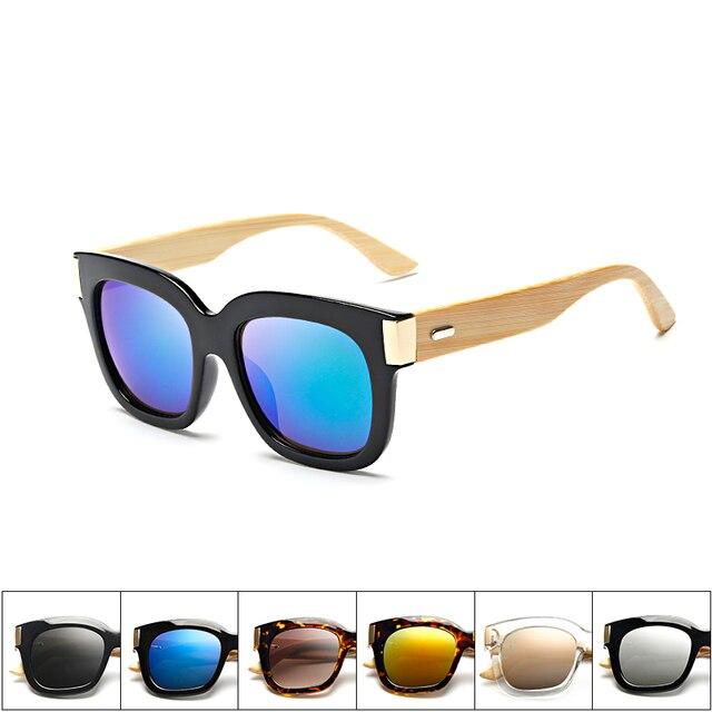 4004b4f6cc154 UV 400 Handmade Óculos De Sol Retro óculos de sol De Madeira De Bambu  Quadrados lados. Passe o mouse em cima ...
