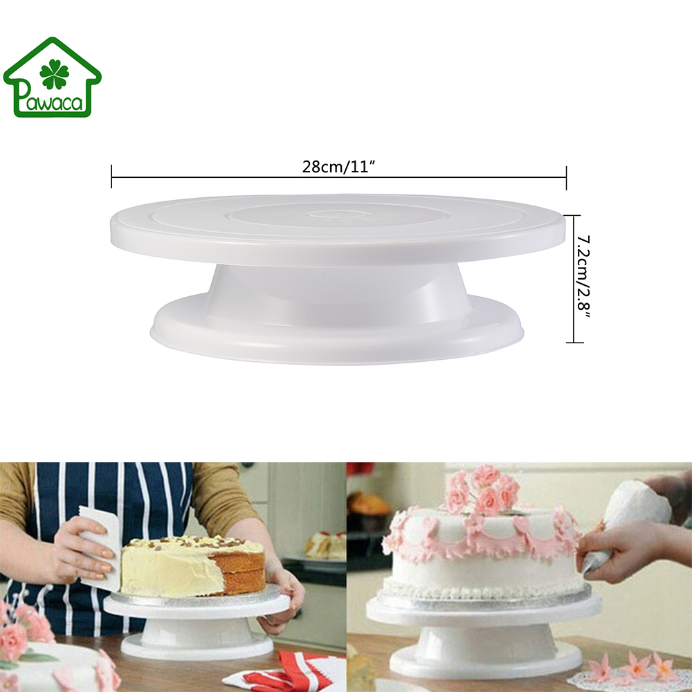 11 Inch Cake Turntable Round Rotating Revolving Plate Cake Swivel Display Stand Cake Decorating Platform Kitchen