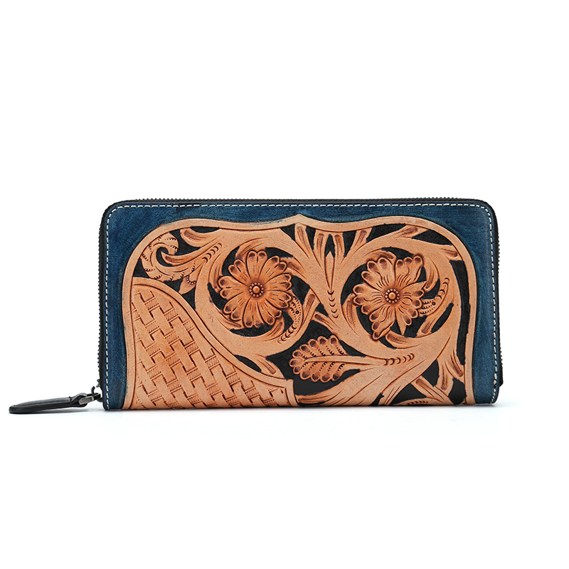 chinese vintage flower genuine italian vegetable tanned cow leather long zipper wallet clutch womens wallets and purses luxury brand vintage handmade genuine vegetable tanned cow leather men women long zipper wallet purse wallets clutch bag for man