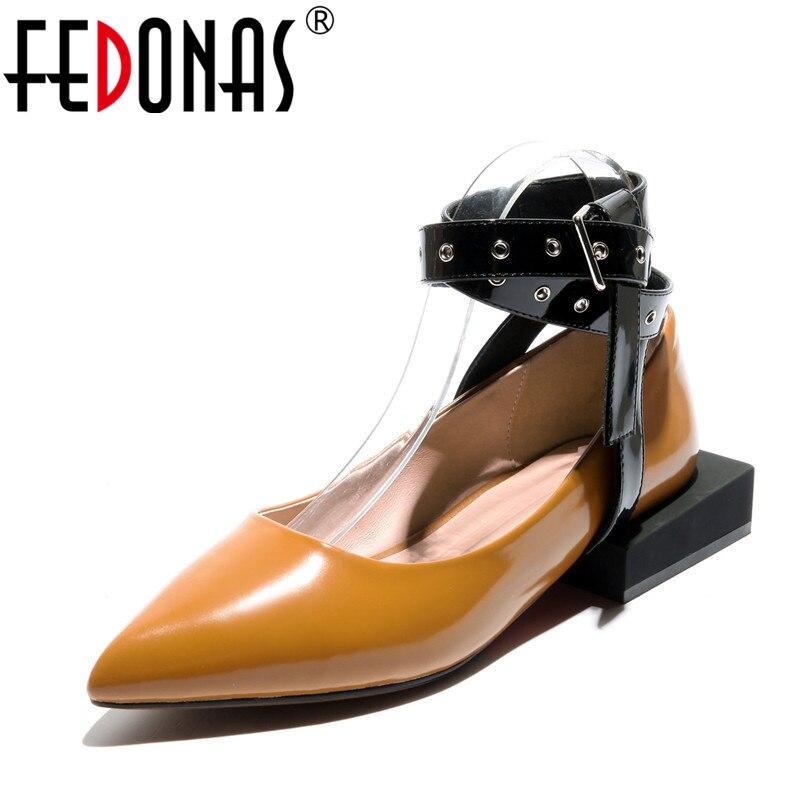 Cuero Primavera De Correa Bajos Genuinos Zapatos Tacones Bombas 2018 Remaches Mujer Fedonas Partido Moda Tobillo Negro 2 Mujeres Sexy RwqxHCzn