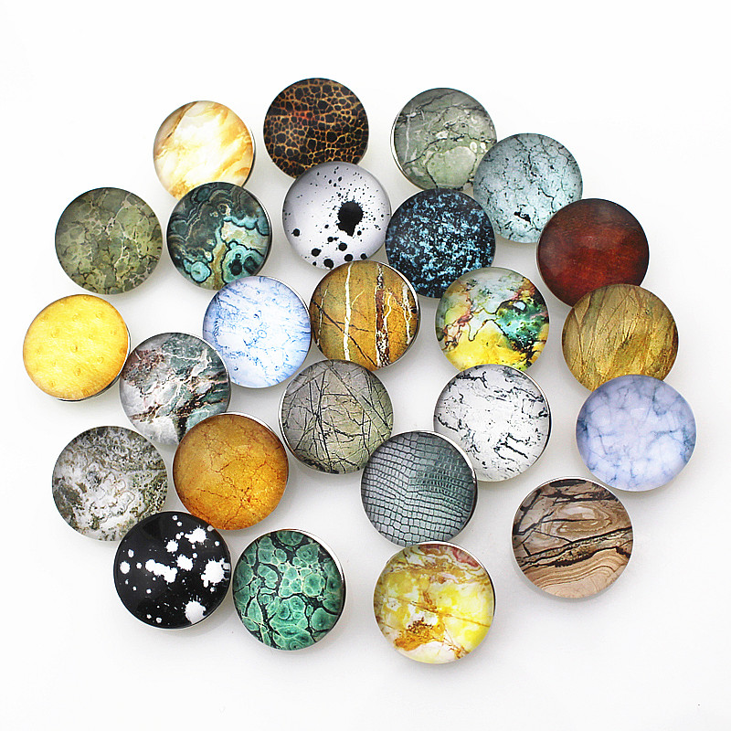 Mix 50pcs/lot 18mm Marble Snap Button For Snap Bracelet Necklace DIY Snap Jewelry