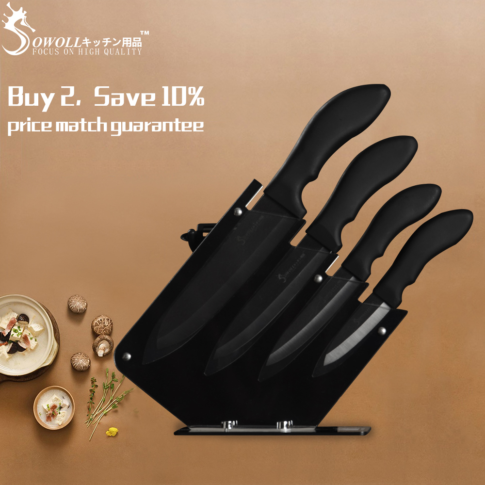 Sowoll Kitchen Knives 6 Piece Set Ceramic Blade Non slip Handle Knives Gift Ceramic Peeler Knife Holder Cooking Accessories