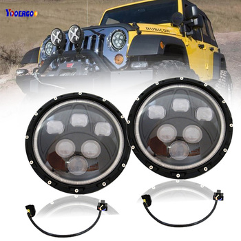 60W 7inch round H4 led headlight for offroad 4x4 Wrangler JK TJ trucks dual sealed beam headlamp with DRL halo ring