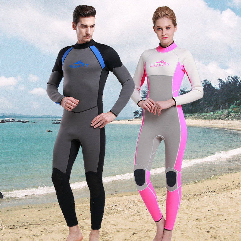 Rubber Wetsuit 3MM Long-sleeved Warm Winter Swimming Jellyfish Piece Swimsuit Thick Neoprene Suit