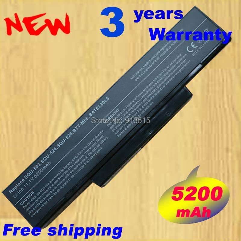 Laptop Battery for Asus SQU-528 SQU-503 BTY-M66 MSI 610 6cell