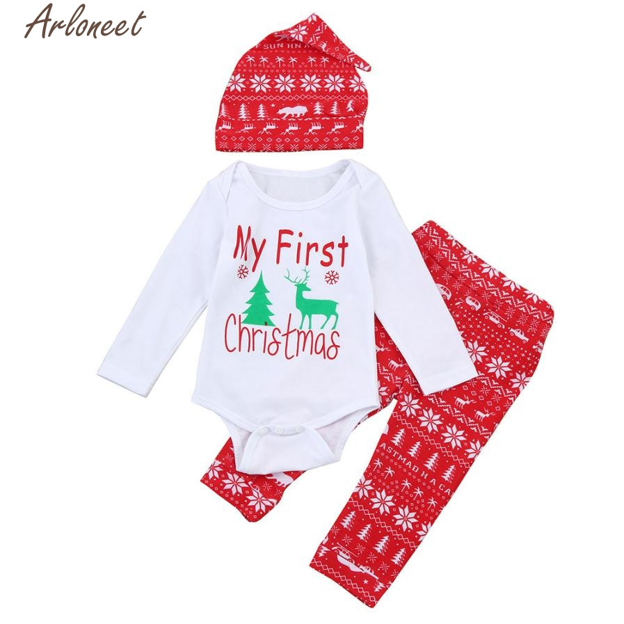 ARLONEET 2017 Baby Girl clothes infant boy clothing my first christmas girl newborn Elk Romper+Pants+Hat Set l1207