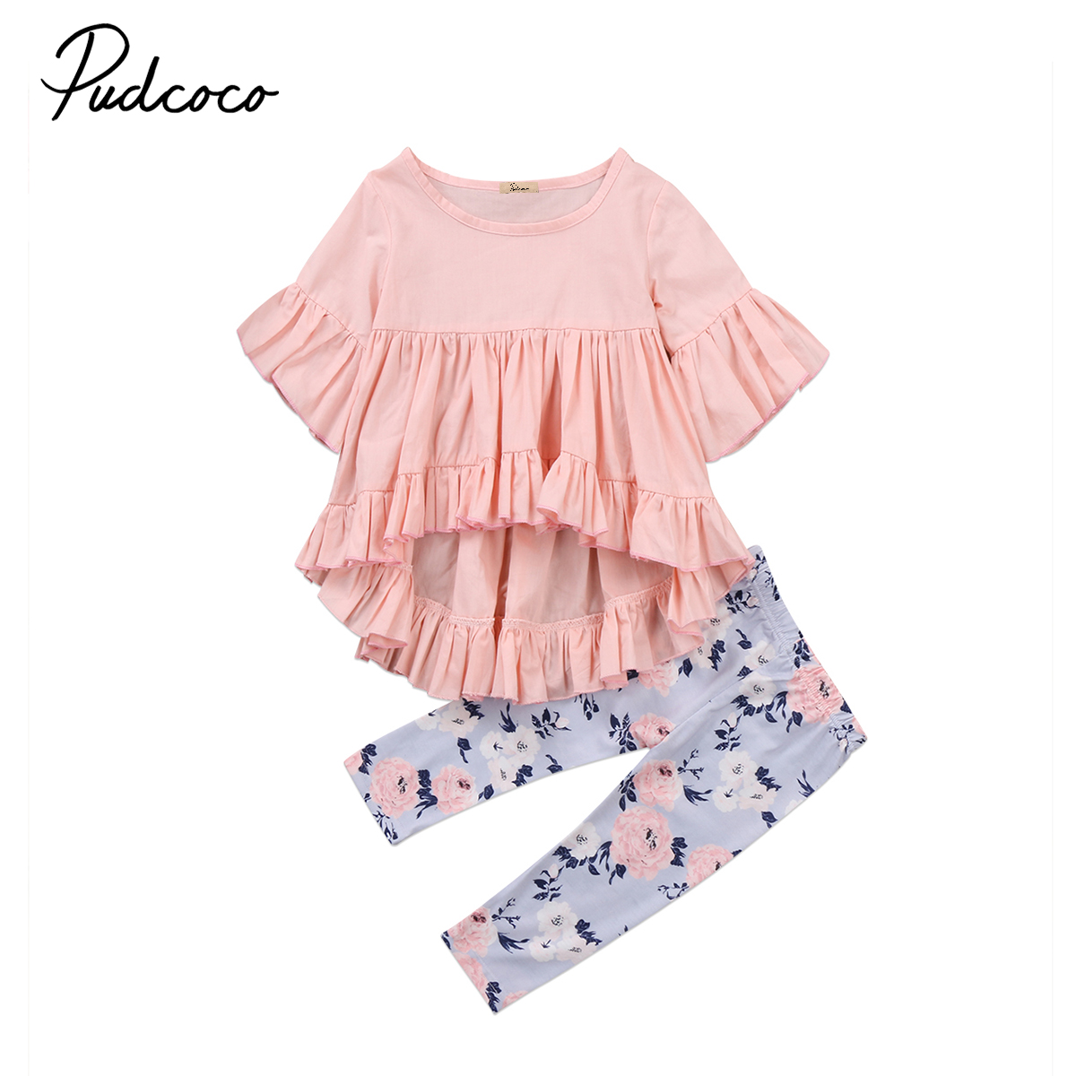 Long Pants Outfits Clothes Set 2pcs Toddler Kid Girls Long Sleeve T-shirt Tops