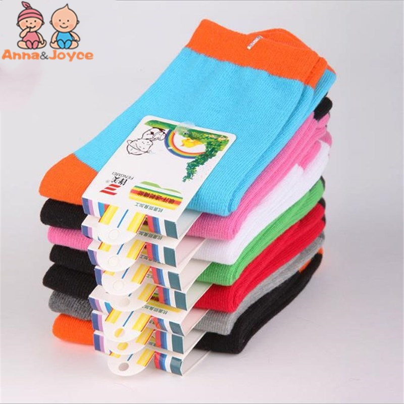 20 Pieces=10 Pairs Spring&autumn Candy Color Cotton Children Socks For Girls Socks With Boys Socks Kids Socks 1-9 Year