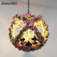 Цветы шар подвесной светильник Лофт Indusrtial художественный Декор подвесной светильник для столовой Бар Кафе Подвесная лампа светодиодные св