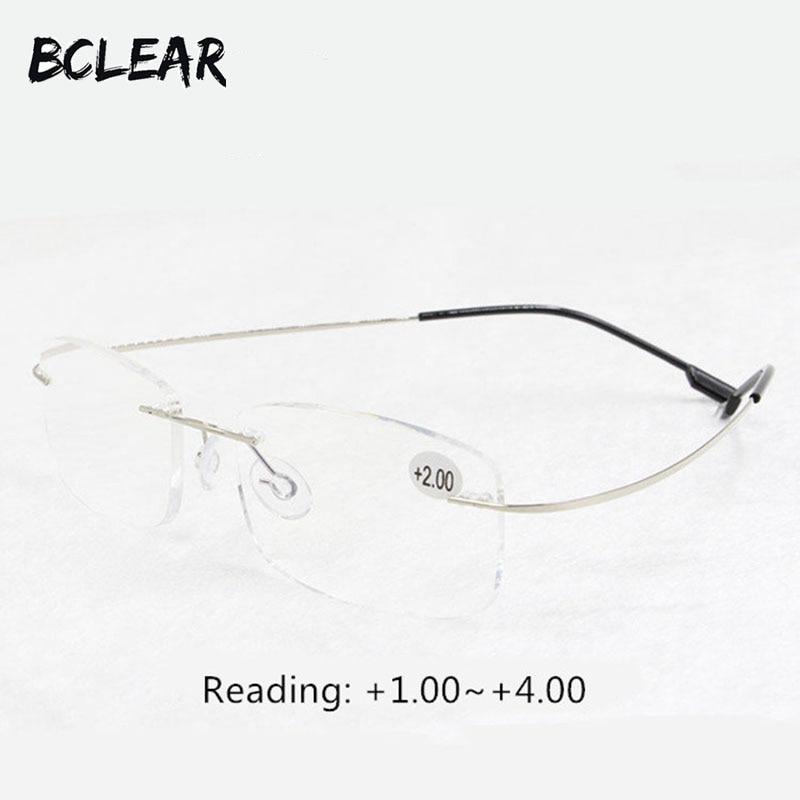 BCLEAR Presbyopiya gözlükləri uniseks rimless yaddaş titan çevik moda oxu eynəkləri + 1.0 +1.5 +2.0 +2.5 +3.0 +3.5 +4.0