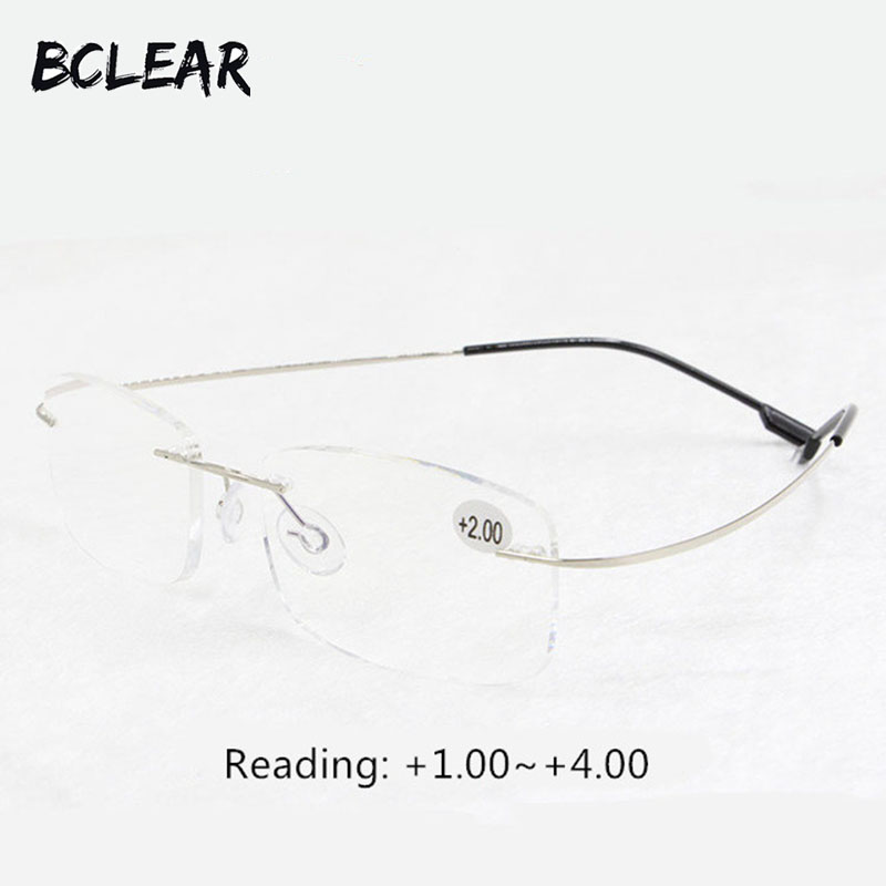 BCLEAR Presbyopia სათვალე unisex rimless მეხსიერების ტიტანის მოქნილი მოდის კითხვის სათვალეები + 1.0 +1.5 +2.0 +2.5 +3.0 +3.5 +4.0