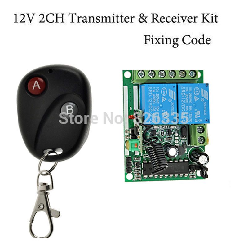 Fixed code 12v 2ch transmitter receiver rf wireless remote for 12v garage door remote