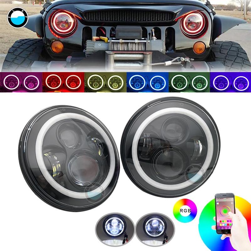 2X 7Inch Round RGB Halo LED Headlights For 97-17JEEP JK//Hummer //Chevrolet Camaro