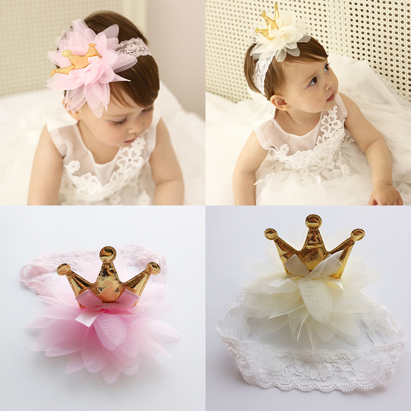 New Pink And Beige Crown Flowers Hairbands Girls   Headwear   Children Headbands Elastic Hair Band Kids Hair Accessories