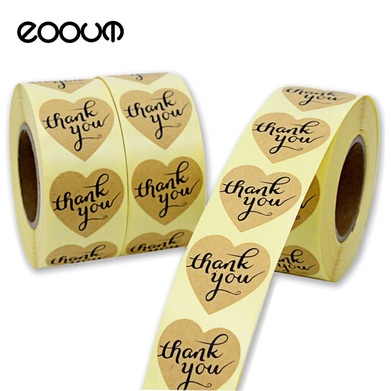 EOOUT 1500pcs 3.5cm Heart-Shaped Thank You Sticker Craft Paper Thank You Label, Adhesive Seal Labels Decorative Sealing Stickers matte white a4 kraft paper self adhesive square print label stickers library book shipping labels for laser inkjet printer