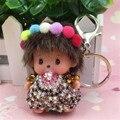 Handmade Colorful ball Monchichi Keychains Car Pendant crystal Rhinestone Key Chain For Bag pendant car hanging Monchhichi Key