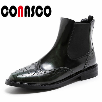 CONASCO Brand Women Thick Heels Ankle Boots Round Toe Autumn Winter Martin Shoes Woman Sexy Slip On Motorcycle Boots New Shoes
