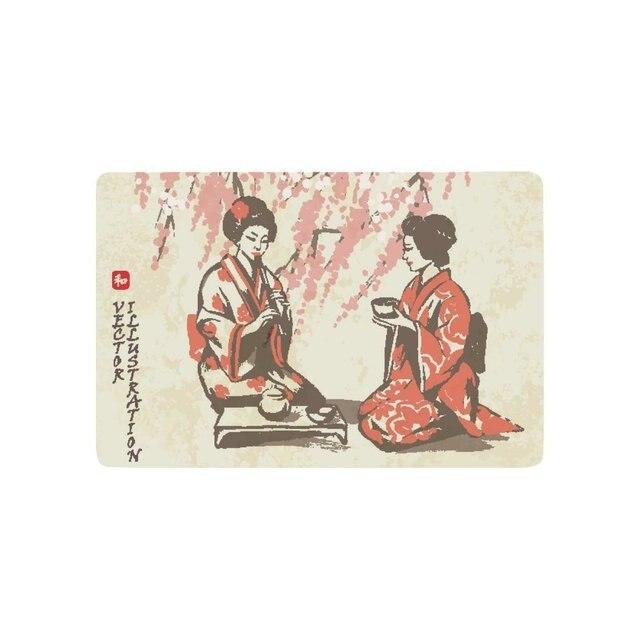 Traditional Japan Girls Having Tea Anti-slip Door Mat Home Decor, Spring Oriental Cherry Blossom Branches Indoor Outdoor Doormat