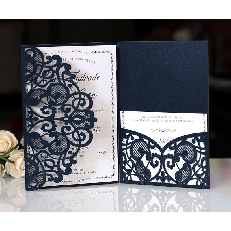 1pcs Blue สีขาว Elegant เลเซอร์ตัดบัตรเชิญงานแต่งงานการ์ดอวยพรปรับแต่งธุรกิจ RSVP การ์ด Decor PARTY Supplies