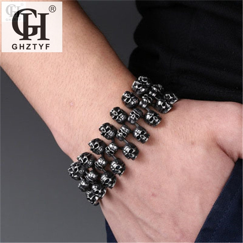 Men's 316L Stainless Steel Skull Bracelets Punk Rock Skull Chain Bracelet For Men Knight Jewelry Bangles Male's Bangle Jewellery недорго, оригинальная цена