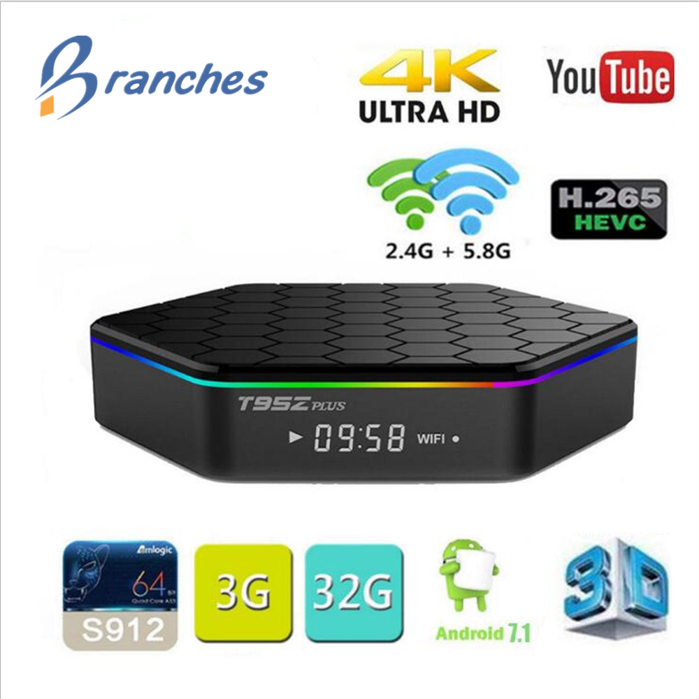 T95Z plus smart tv box Android 7.1 TV BOX Amlogic S912 Set-Top box Octa Core 2GB 3GB RAM Dual WiFi Smart tvbox smart box tv genuine sunvell t95z plus android smart tv box amlogic s912 octa core 4kx2k 2 4g 5g dual band wifi set top box
