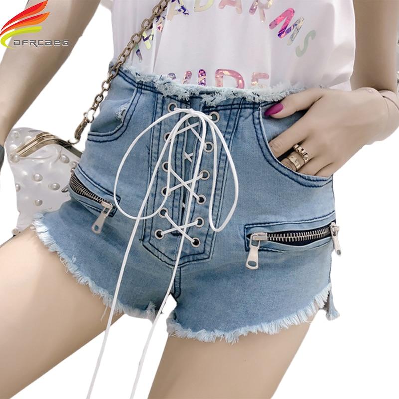 High Waist Denim   Shorts   For Women Summer 2018 Drawstring Sky Blue Sexy   Short   Jeans Korean Style New Fashion Lace Up   Shorts   Femme