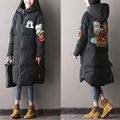 Apuramento --- 2016 do sexo feminino inverno Coreano Multi Bolso super quente casaco com capuz solto casaco longo para baixo