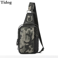 Tidog Camouflage chest package leisure purses tide men chest bag