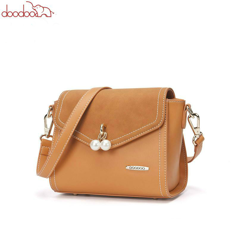 DooDoo Women Bag Female Shoulder Crossbody Bags Ladies Pu Leather Pearl Messenger Bags Luxury Handbags Women Bags Designer Bolsa kmffly red thread women shoulder bags designer pu leather messenger bags female luxury casual flap crossbody bags bolsa feminina