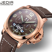 JEDIR Automatic Self Wind Men Watch Alloy CaseMaterial Matte Leather Band 30M Life Waterproof Calendar Display Luminous Hands