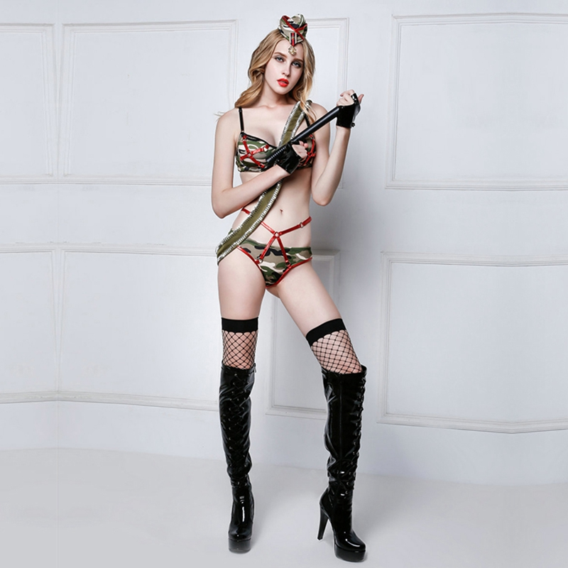 Sexy Army Costume Suit 6 Pieces Set Porno Women Soldier Role Play Halloween Costumes Polyester Camouflage Suit For Women