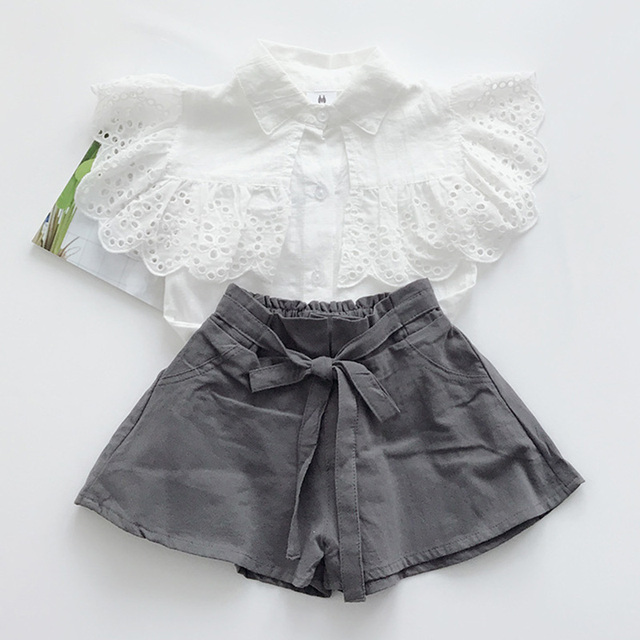 Girls Suits 2019 Summer Style Children Point Printed Clothing Sets Kids White T-shirt and Pink Pants 2 Pieces Clothing Bow Suits