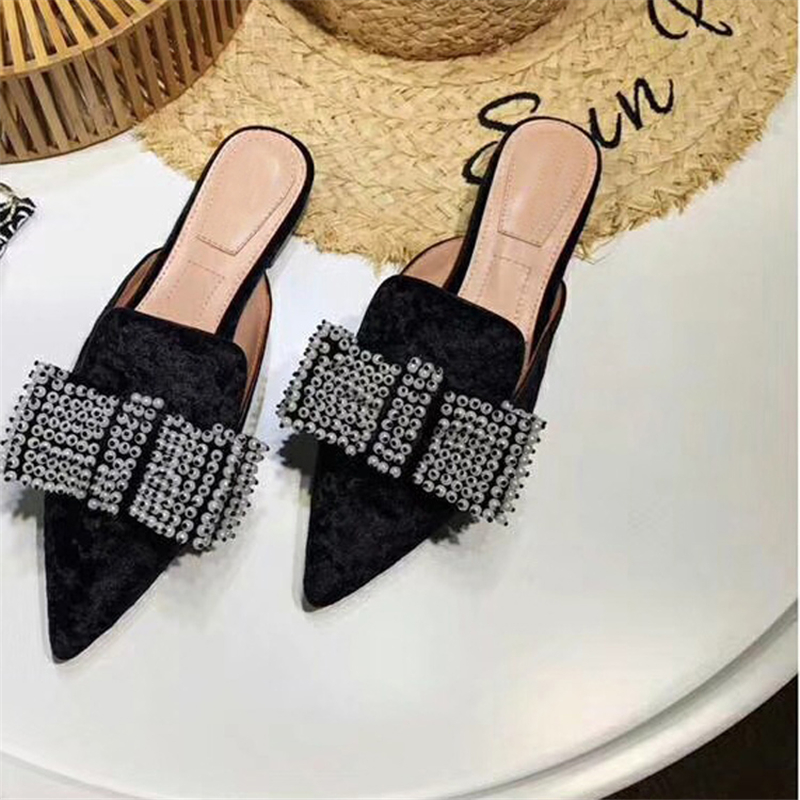 Hanbaidi Fashion Velvet Slip On Women Slippers Luxury Brand String Bead Pointed Toe Loafers Ruwnay Party Drees Shoes Women 2018