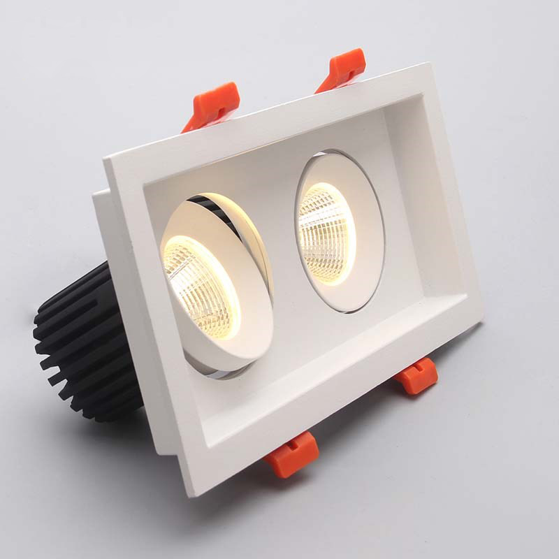 LED downlight 2x10w COB Ultrabright led spot light for living room Embedded ceiling lamp rectangle Anti-glare AC85-265V free shipping led european style ceiling light 10w 220v anti glare led meeting room offices hotels homelighting