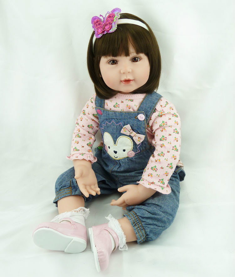 22inch Vinyl Silicone Doll Reborn Toddler Baby Girls Short Brown Hair Play Doll Toys Reborn Baby Doll In Soft Jeans Clothes