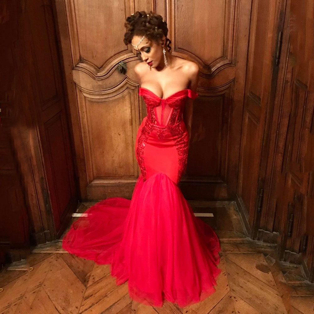Red Mermaid   Prom     Dress   2019 Sweetheart Off Shoulder Backless Long Formal Evening Gown Custom Made