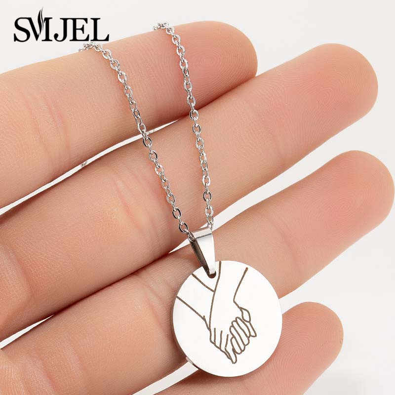 SMJEL Wedding Hand Gestures Necklace Engraved Sign Language I Love You Pinky Swear Okay Charm Necklaces Bridal jewelry Wholesale