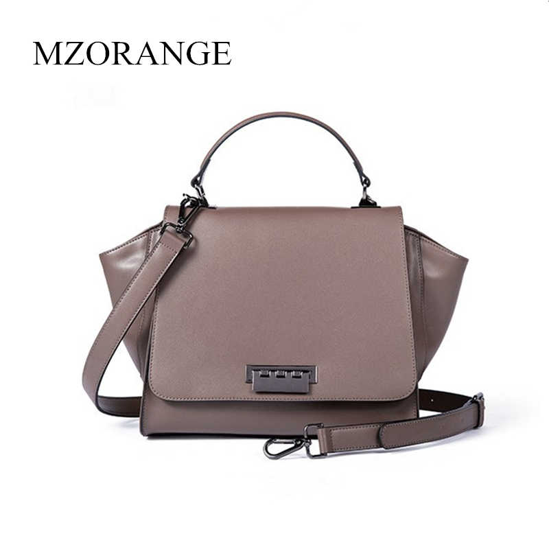 e96dfdff6492 2018 MZORANGE Genuine Leather Women Bag Luxury Handbags Fashion Trapeze  Designer Ladies Casual Tote Big Shoulder