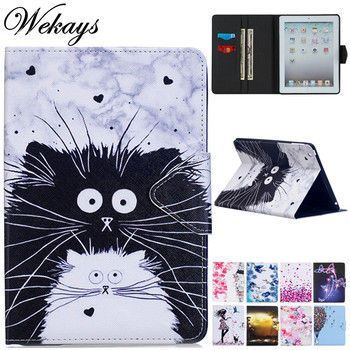 Wekays For Coque Apple IPad 9.7 inch 2018 Cute Cartoon Cat Leather Flip Fundas Case sFor IPad 9.7 2017 A1822 A1823 Cover Cases wekays for apple ipad mini 4 cute cartoon unicorn leather fundas case sfor coque ipad mini 4 tablet cover cases for ipad mini4