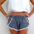 New Arrival Summer Women High Waist Tassel Floral Tribal Beach Casual Shorts 4 Colors