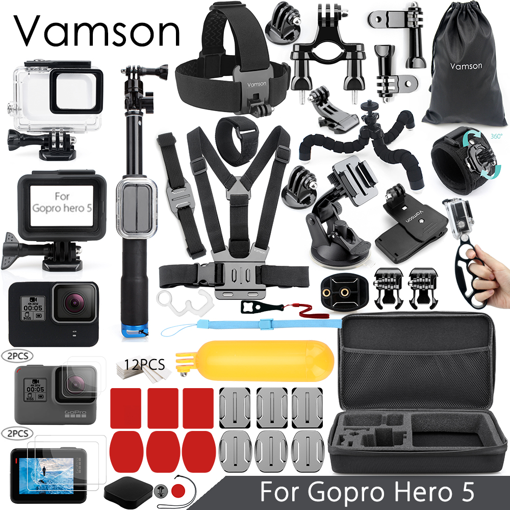Vamson for Gopro Accessories Set For Gopro hero 7 6 5 Waterproof case Protection Frame 3 way monopod for Go pro 7 5 Vamson VS11 45m waterproof case mount protective housing cover for gopro hero 5 black edition