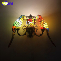 FUMAT Parrot Wall Sconce Lamp Creative Stained Glass Decor Art Wall Lights Balcony Stair Light Fixtures For Corridors