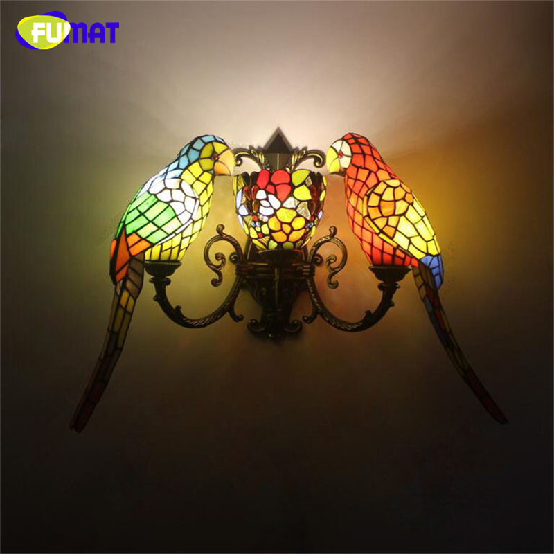 все цены на FUMAT Wall Lamp Parrot Sconce Creative Stained Glass Art Wall Lights Balcony Stair Light Fixtures for Corridors Garden Stair онлайн